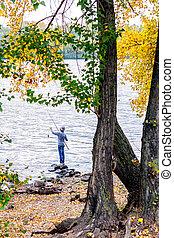 Boy fishing on lake or pond