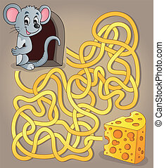 Maze 1 with mouse and cheese - eps10 vector illustration