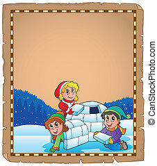 Parchment with children and igloo - eps10 vector...