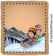 Parchment with children on sledge