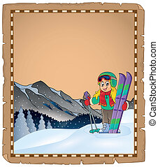 Parchment with winter sport theme 1 - eps10 vector...