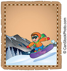 Parchment with winter sport theme 3 - eps10 vector...