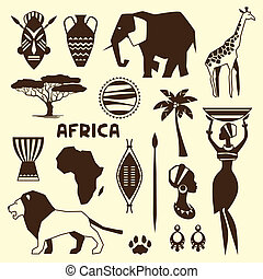 Set of african ethnic style icons in flat style