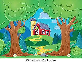 Tree theme with farm 2 - eps10 vector illustration.