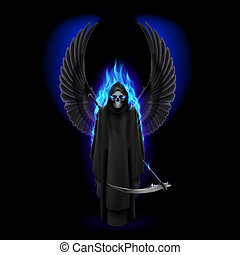 Angel of death - Grim Reaper with wings and blue flame on...