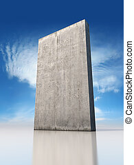 Abstract monolithic concrete slab is on the sky background
