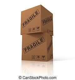 caixa, carga, papelão