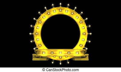 Circular Frame With Lights On Black Background 3D render...