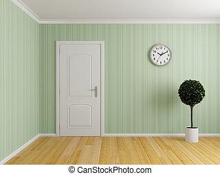 Empty interior room with door and wooden floor