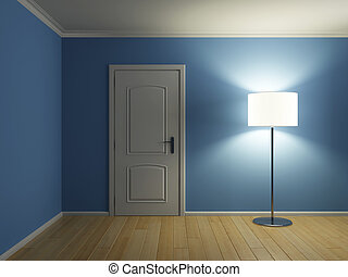 Empty modern interior with lamp - Empty modern interior room...