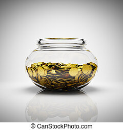 Gold coins - Glass jar full of gold coins