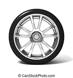 Car wheel with tire isolated on white background