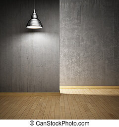 Interior hall with concrete walls and lamp