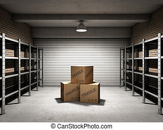 almacenamiento, habitación, Cajas, Estantes