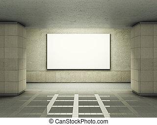 Blank advertising billboard in underground tunnel
