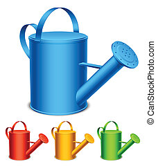 Watering can. - Set of 4 color watering cans.