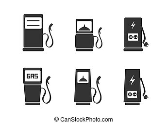 Charging station icons set - Gas pump and electric vehicle...