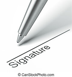 Pen and signature  isolated on a white background. 3d render