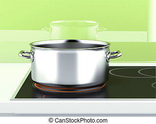 Pan with induction stove and green background. 3d render