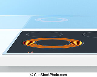 Induction stove on the blue background 3d render
