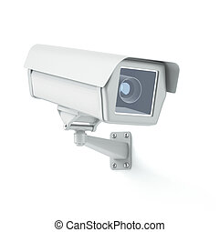 Security camera isolated on a white background 3d render