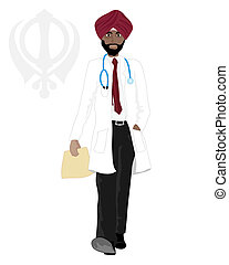 sikh doctor - an illustration of a smart sikh doctor walking...