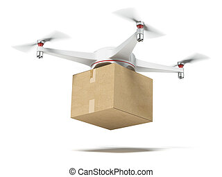 White quadrocopter carrying carton box isolated on a white...