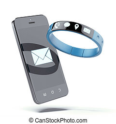 Smartphone and smart wristband isolated on a white...