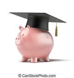 Piggy Bank with Black Graduation Hat isolated on a white...