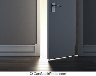 Open door with light