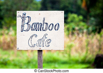 Handmade cafe sign in borneo asia