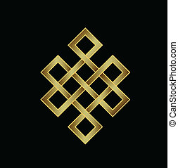 Golden Endless knot. Karma logo