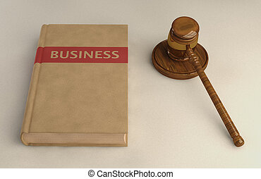 Gavel and Business law book on linen surface Conceptual...