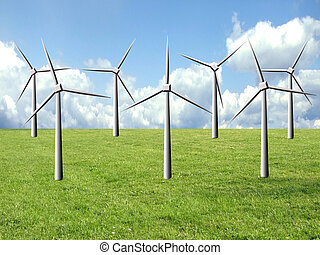 Clean energy - Windmill farm on a green field, clean energy...