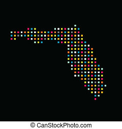 Florida color square dot map image.