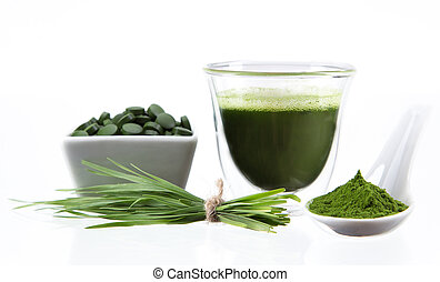 detox. young barley, chlorella superfood. - Young barley and...