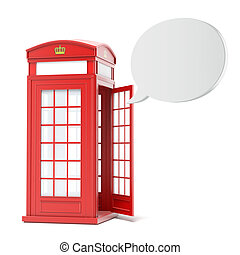 British red phone booth with speech bubble - British red...