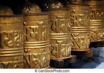 Nepal, distretto,  khumbu, preghiera, ruote, Himalaya