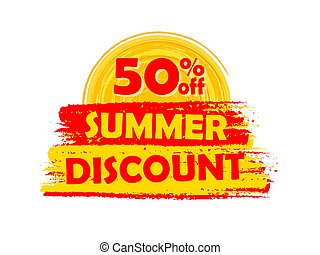 50 percentages off summer discount with sun sign, drawn...