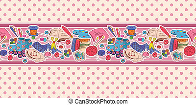 Horizontal seamless pattern with hobby items - Horizontal...
