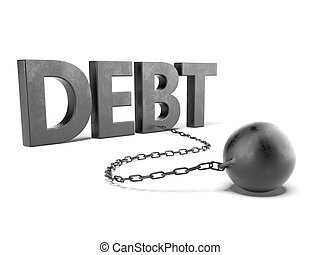 debt text with chain and weight isolated on a white...
