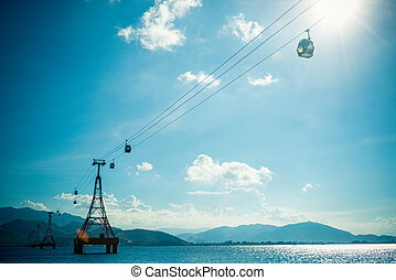 Great cable car - Large cable car way over the sea in Nha...