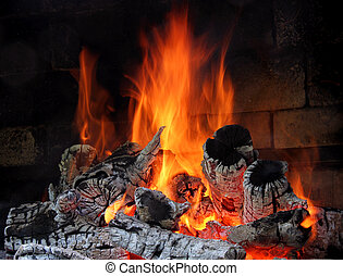 Fire  - Burning billets in hot stove