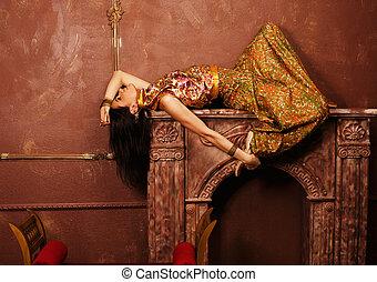 belleza, sensual, joven, mujer, oriental, estilo, lujo,...