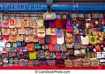 The shop sell traditional Nepalese handicrafts goods for...
