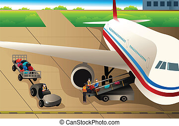 Workers loading luggages into an airplane in the airport - A...
