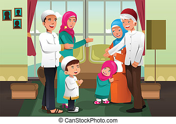 Family celebrating Eid-al-fitr - A vector illustration of...