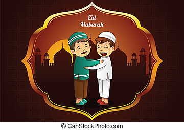 Eid-Al-fitr greeting card - A vector illustration of...
