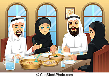 People celebrating Eid-Al-fitr - A vector illustration of...