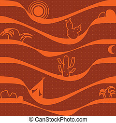 Desert and cactus vector for pattern and background